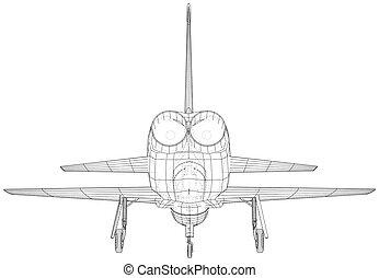 vecteur, avion., 3d, illustration, créé, wireframe, concept.