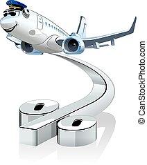 vecteur, avion ligne, dessin animé