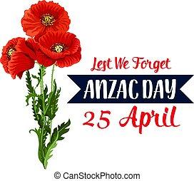 vecteur, avril, ruban, pavot, jour, icône, 25, rouges, anzac