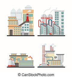 vecteur, bâtiments, ensemble, industrie