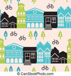 vecteur, bâtiments, modèle, seamless, maisons