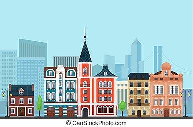 vecteur, bâtiments, paysage, vieux, gratte-ciel, moderne, urbain, illustration., arrière-plan.