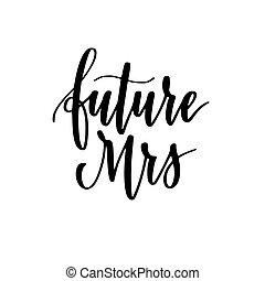 vecteur, bachelorette, mme, avenir, conception, épousant partie, calligraphie, ou