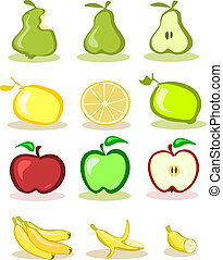 vecteur, backg, blanc, ensemble, fruits