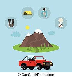 vecteur, backpack., ensemble, touriste, camping, nature, randonnée, camping, tige, icons., élément, symboles, équipement, feu camp, peche, activité, amusement, set., voyage, tente