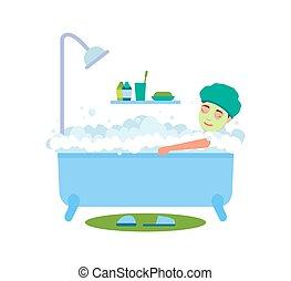 vecteur, baigner, femme, illustration, délassant