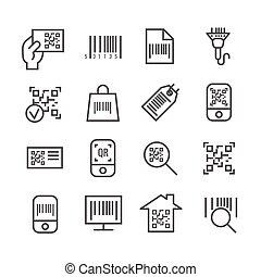 vecteur, balayage, code, barre, icônes, qr, ligne mince