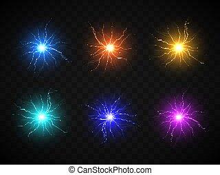 vecteur, balle, discharge., électrique, plasma, lightning., sphere., réaliste