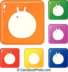 vecteur, balle, icônes, couleur, ensemble, fitness