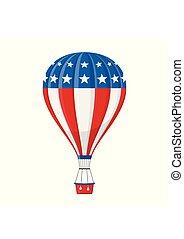 vecteur, ballonner, ballooned, usa, jouet, balloon, voler, isolé, illustration, dessin animé, drapeau, fond, américain, voyager, panier, vol, blanc, icône, aérostat, transport, aventure