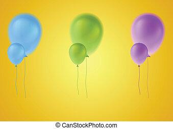 vecteur, ballons, coloré