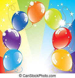 vecteur, ballons colorés, et, light-burst
