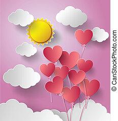 vecteur, balloon, soleil, heart., illustration
