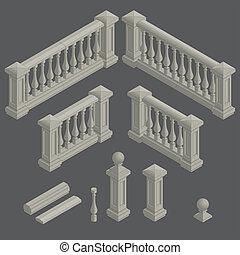 vecteur, balustrade, ensemble, élément architectural