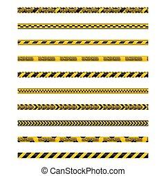 vecteur, bandes, illustration., seamless, jaune, ensemble, noir, avertissement