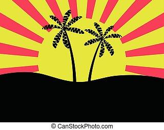 vecteur, banner., arbres, contre, clair, aube, paume, illustration, fond, sun.