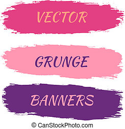 vecteur, banners., ensemble, grunge, illustration