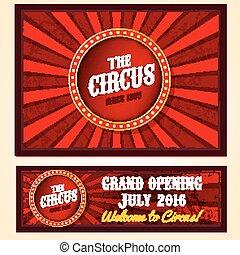 vecteur, bannière, cirque