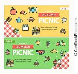 vecteur, bannière, horizontal, set., pique-nique, automne, ...