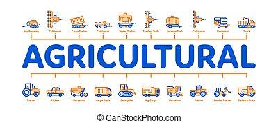 vecteur, bannière, infographic, agricole, minimal, véhicules