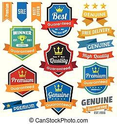 vecteur, bannière, logo, vendange, retro