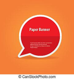 vecteur, bannière, résumé, papier, bulle discours, ou, rouges