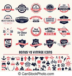 vecteur, bannière, vendange, retro, étiquettes