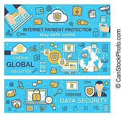 vecteur, bannières, protection, paiement, internet