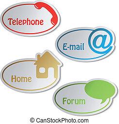 vecteur, bannières, -, téléphone, email, maison, forum