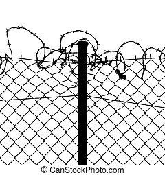 vecteur, barbelé, fils, câble, barrière