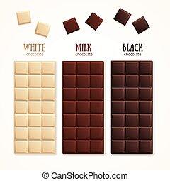 vecteur, barre, blank., chocolat