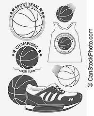 vecteur, basket-ball, championnat, ensemble, logo.