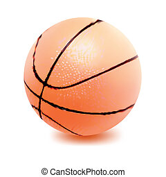 vecteur, basket-ball, isolé, balle, white.