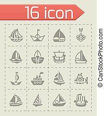 vecteur, bateau, ensemble, bateau, icône