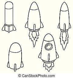 vecteur, bateau, ensemble, fusée, espace