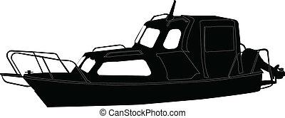 vecteur, -, bateau