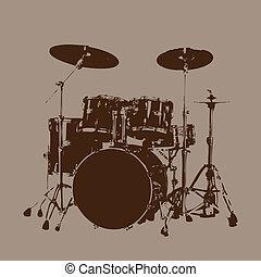 vecteur, battez tambour kit