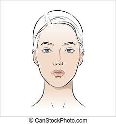 vecteur, beau, sain, jeune femme, girl, skin., face.