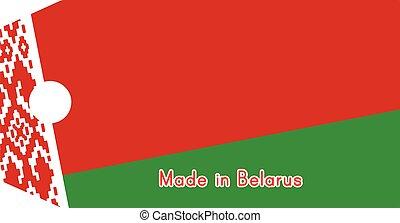 vecteur, belarus, mot, coût, isolé, illustration, drapeau, étiquette, fond, blanc, fait