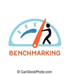 vecteur, benchmarking, logo, icône, concept