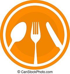vecteur, besteck., style, cuillère, couteau, fourchette, plat, illustration