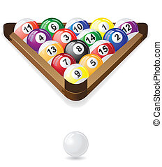 vecteur, billard, illustration, balles