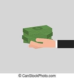 vecteur, billets banque, main, illustration, homme affaires