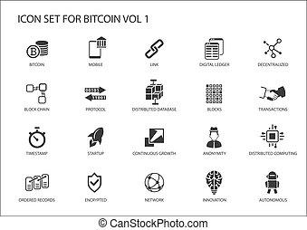 vecteur, bitcoin, icônes