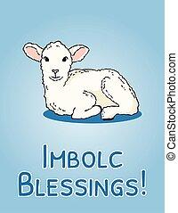 vecteur, blanc, agneau, postcard., début, bénédictions, ...
