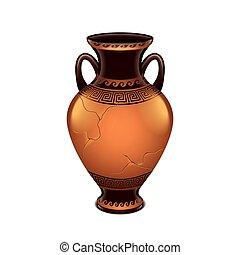 vecteur, blanc, ancien, isolé, vase