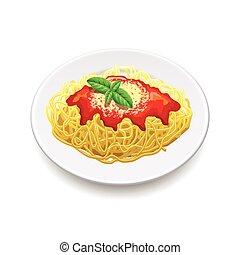 vecteur, blanc, bolognese, spaghetti, isolé