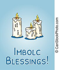 vecteur, blanc, bougies, postcard., début, bénédictions, ...