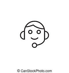 vecteur, blanc, casque, helpdesk, arrière-plan., icône, illustration, style., opérateur, business, isolé, plat, bavarder, concept.