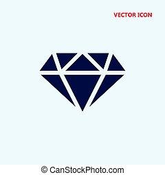 vecteur, blanc, diamant, contour, icône